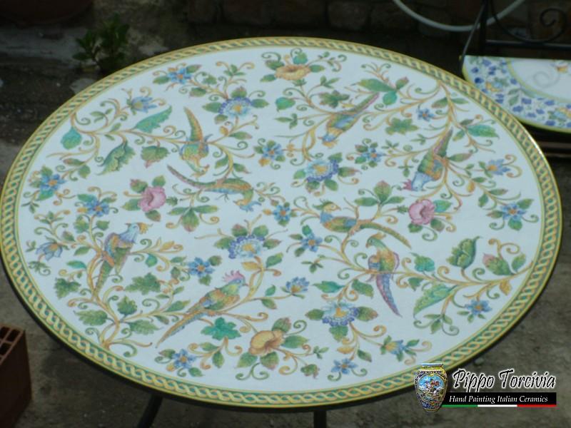 Scheda prodotto tavolo decoro pappagallo pieno ceramiche for Tavolo 90x60