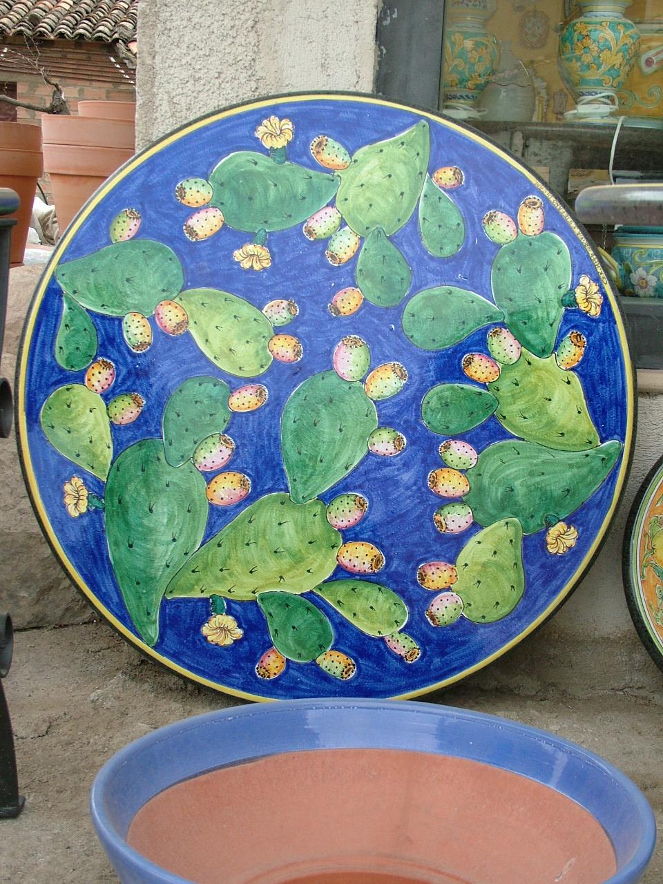Scheda prodotto: tavolo decoro fichi d'india blu ceramiche ...